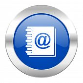 address book blue circle chrome web icon isolated