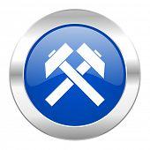 mining blue circle chrome web icon isolated