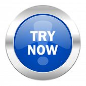 try now blue circle chrome web icon isolated