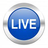 live blue circle chrome web icon isolated