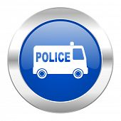 police blue circle chrome web icon isolated