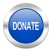 donate blue circle chrome web icon isolated