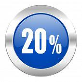 20 percent blue circle chrome web icon isolated