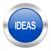 ideas blue circle chrome web icon isolated