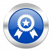 award blue circle chrome web icon isolated