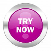 try now violet circle chrome web icon isolated