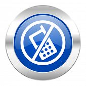 no phone blue circle chrome web icon isolated