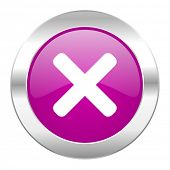 cancel violet circle chrome web icon isolated