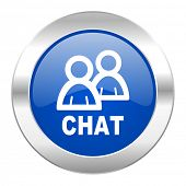chat blue circle chrome web icon isolated