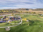 aerial view of park and playground at foothills of Rocky Mountains in Fort Collins, Colorado