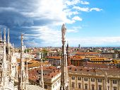 View on downtown from height of the Dome of Milan cathedral.