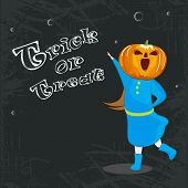 Little girl in pumpkin face for Trick Or Treat party celebration on stylish background.