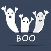 Traditional ghost with text of Boo for Halloween party celebration on blue background for Halloween