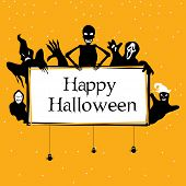 Silhouette of ghosts, vampire and zombie hand holding the board of Halloween text with hanging insec