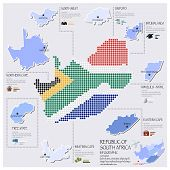 Dot And Flag Map Of South Africa Infographic Design