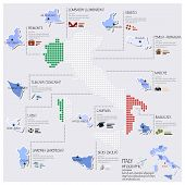 Dot And Flag Map Of Italy Infographic Design