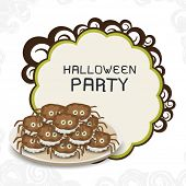 Poster, flyer, banner or invitation for Happy Halloween party celebration with scary spiders cake in a plate.