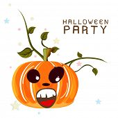 Happy Halloween party celebration poster, banner or flyer with scary pumpkin.