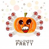 Happy Halloween party celebration poster, banner or invitation with scary pumpkin and witch fingers on decorated beige background.