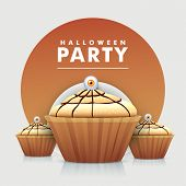 Cup cakes with spooky eye for Halloween party celebration, can be use as poster, banner or flyer.