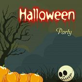 Happy Halloween poster, banner or invitation with pumpkins and scary skull on night view scary background.