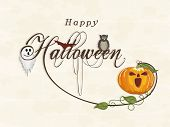 Poster, banner or invitation for Halloween party celebration with traditional ghost, owl and scary pumpkin on beige background.