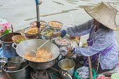 The Woman Makes Fried Noodle Thai Food