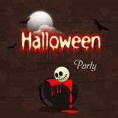 Happy Halloween poster, banner or invitation wit blood pot, skull and flying bat on scary night view background.