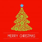 Christmas Tree From Green Buttons. Merry Christmas Card. Flat Design