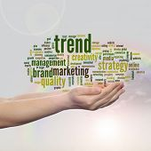 Concept or conceptual abstract business marketing word cloud or wordcloud in man or woman hand, rain