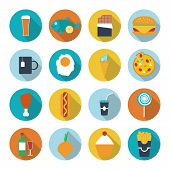 Set of flat design icons for food and drink. Vector illustration