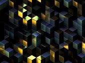 Cubes abstract background with a lot of concepts and metaphors: business, team, technologies, industry, digital, computer management, crowd, originality, information, data, etc.