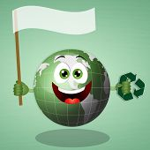 Funny Green Earth with recycle symbol