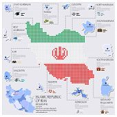 Dot And Flag Map Of Islamic Republic Of Iran Infographic Design