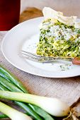Slice Of Quiche with spinach