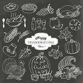 Sketch doodle Thanksgiving icon set on gray background. Hand draw vector illustration