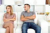 pic of conflict couple  - Young couple in quarrel at home - JPG