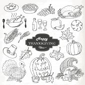 Sketch doodle Thanksgiving icon set. Hand draw vector illustration