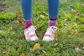 Female legs in colorful socks and sneakers outdoors