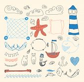 set cute sea objects collection.