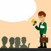Businessman investor speaks in megaphone