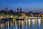 picture of moselle  - Koblenz skyline reflecting in river Moselle Rhineland - JPG