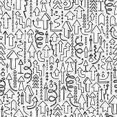 Seamless background of hand drawn arrows