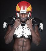 Football Player with American Football Shoulder and helmet