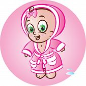 Baby Girl In Bathrobe