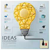 Light Bulb Three Dimension Polygon Idea And Education Infographic