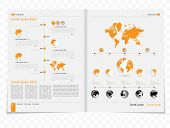 Layout magazine with infographic elements, vector