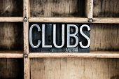 Clubs Concept Metal Letterpress Word In Drawer