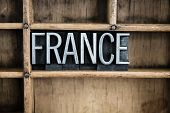 France Concept Metal Letterpress Word In Drawer