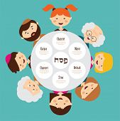 stock photo of hebrew  - big family around passover plate - JPG